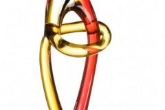 glasskulpturarimbadunkelbra.-rot15x10x47cm